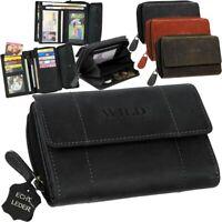Echt Leder Damen Geldbörse Geldbeutel Brieftasche WILD Portemonnaie Geldtasche