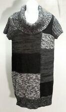 NWT Style&co. Women's Gray Black Combo Short Sleeve Tunic Sweater Size: M