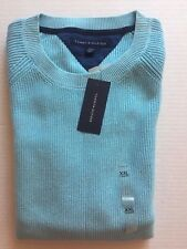 NWT Tommy Hilfiger Men's 2XL Wallace Washed Cotton Knit Sweater Blue $99