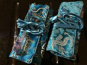 Silk Brocade Jewellery Roll  20 x 10  cm Rolled up - Aqua JR003