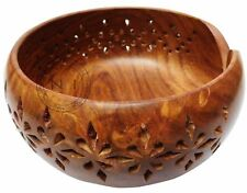 "SOLID  Rosewood Handmade Wooden Yarn Bowl  Knitting Bowls Crochet 6""x 3"" Gift"