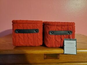 Decorative Knit Basket Red-Threshold-5in x 7in x 6in -Lot of 2 New with tags