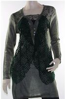 Tunic Top Blouse Abstract Plush Velvet Knit Lace Size 12 14 16 LIOR Dark Green