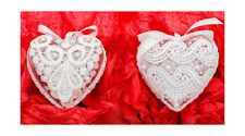 2x Christmas hand decorated heart baubles guipure lace, Xmas tree decoration