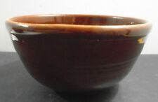 VINTAGE GLAZED BROWN POTTERY BOWL 7 5/8""