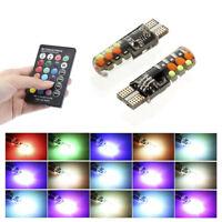 2x T10 5050 W5W 6SMD Remote Control RGB LED Car Dome Reading Light Lamp Bulb Kit