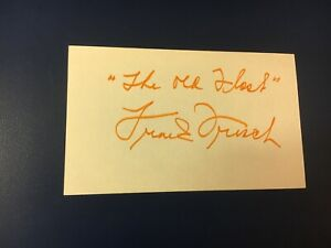 original baseball HOF player FRANK FRISCH SIGNED INDEX CARD (deceased 1973)