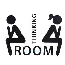 Thinking Room Toilet Wall Stickers Decals WC Bathroom Door Sign Removable Decor