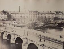 c1865 Attr. Charles Soulier PARIS vue de la SEINE Pont Neuf albumen print