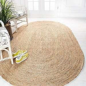 Oval Jute Rug Floors Natural  Braided  Woven  Area Carpet Modern Rug