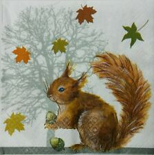 SQUIRREL IN AUTUMN 2 single LUNCH SIZE  paper napkins for decoupage 3-ply