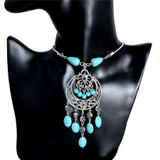 Hot Women Silver Plated Chain Turquoise Bead Long Tassel Pendant Necklace