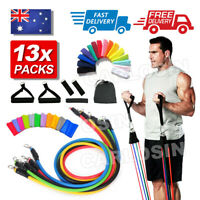 13 PCS Resistance Band Set Yoga Pilates Abs Exercise Fitness Tube Workout Bands