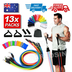 13 PCS Resistance Bands Set Yoga Pilates Abs Exercise Fitness Tube Workout Bands