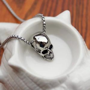 "LAVASTORM Mens cracked skull skeleton pendant necklace unisex 24"" chain"