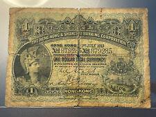 1913 HSBC Hong Kong Banknote One Dollar