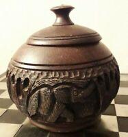 HEAVY Antique Lidded Carved Wood Tobacco / Trinket Box Elephants Indian? VGC