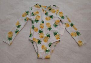 NWT Old Navy Pineapple Long Sleeve Rashguard Swimsuit 1PC 4T Toddler Girl