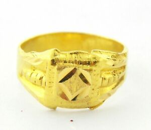 22ct Baby Ring with Diamond Cuts. All Gold No Stones. code 1358