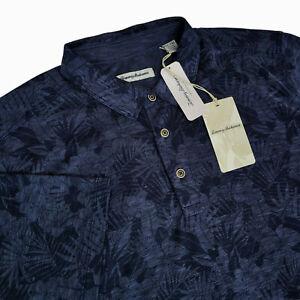 Tommy Bahama Mens XLT Sport Palmetto $130 Floral Short Sleeve Polo Shirt Blue