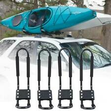 4x Universal Hard Adjustable Kayak Canoe Carrier Car Roof Rack J Bars and Straps