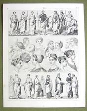 ROME Roman Fashion Dresses Toga Women Headgear - 1844 SUPERB Engraving Print