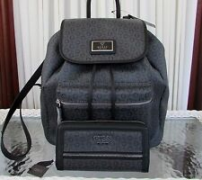GUESS Coal Black Backpack Passtime Shoulder Bag Signature & Wallet 2 pc Set NWT