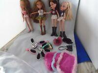 """Bratz Barbie Dolls 10"""" Lot of 4 W/Accessories  Lot #6"""
