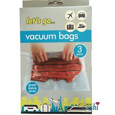 Vacuum Travel Storage Bags 3 Pack 38 x 54cm Great Space Saver  ZIP Bags