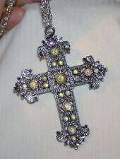 Lovely Dark Silvertn Filigree Aurora Borealis Rhinestone Cross Pendant Necklace