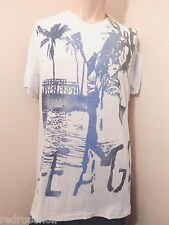 American Eagle Mens Graphic V Neck T Shirt 2XL XXL Off White/blue Great Gift NEW