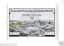 Schokoladenfabrik Tangermünde XL Reklame von 1928 Konserve Schokolade Werbung ad