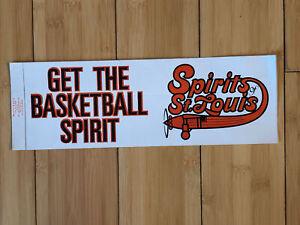 "Spirits of St. Louis Logo Bumper Sticker 12 x 4""  ABA Basketball Vtg Original"