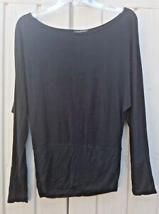 Urban Diva Ladies Black Dolman Sleeves Stretch T Shirt Top Blouse Size M/L