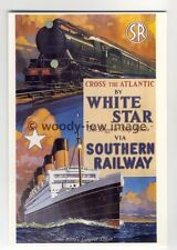 ap2935 - Southern Railway - Showing Train and White Star Liner    - Postcard