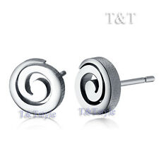 T&t Stainless Steel Polished Round Stud Earrings Ec37