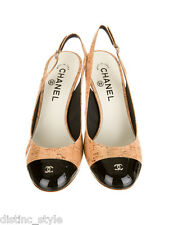 Sold Out CHIC CLASSY CHANEL Nude/Cork print & Black PATENT Leather Pumps Slings