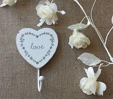 VINTAGE CHIC Bianco Amore Cuore Ganci Legno Shabby VERNICE Muro Porta Bagno Camera da Letto