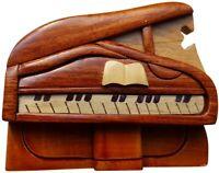 Piano - Handmade Wood Puzzle Box Intarsia Wood Decorative Jewelry Trinket Box