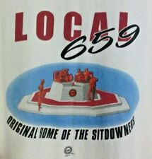 VINTAGE UAW LOCAL 659 HOME OF THE SITDOWNERS T-SHIRT 3XL WHITE 2-SIDED