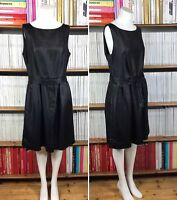 TARA JARMON dress pleated 1950s cocktail party raffia belt bow FR 42 UK 14 US 10