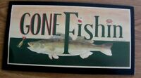 "7x13"" Fish Print Wood Country Lodge Primive Gone Fishin Fishing Fisherman Sign"
