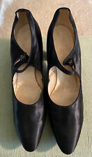 1920's Vintage Original Black Satin Shoes Heels
