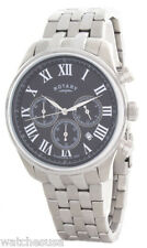 Rotary Mens Black Dial Stainless Steel Bracelet Chronograph Watch GB00405/10