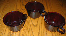 RED GLASS Tea/Coffee Cups~ Rich translucent Red Color