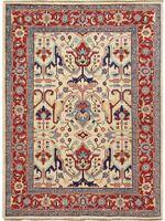 Vegetable Dye Hand-Knotted Super Kazak Geometric Oriental Area Rug 5x7 Carpet