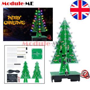 DIY Kit LED Flashing Light 7 Color Colorful Flash Circuit UK 3D Christmas Tree