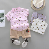 Toddler Kids Baby Boys Short Sleeve Pattern T-Shirt Tops+Shorts Outfits Cloth