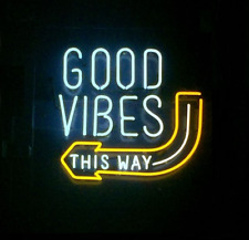 """New Good Vibes This Way Neon Light Sign 24""""x20"""" Lamp Poster Real Glass Beer Bar"""