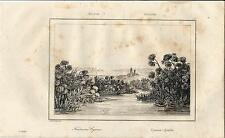 Stampa antica SIRACUSA veduta della mitica Fonte Ciane 1835 Old antique print